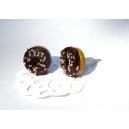 chez laurette   Donuts Choco sucré   boucles d'oreille   bijoux gourmand   puces d'oreille   fait main   montréal   fimo
