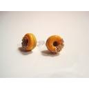 Donuts à la Citrouille sucrée, bijoux gourmand, pate polymere, fimo, donuts, puces d'oreille, boucles d'oreille, fait main