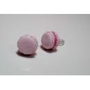 Macaron - Rose givrée, bijoux gourmands, pate polymere, fimo, macaron, puces d'oreille, boucle d'oreille, hiver, fait main
