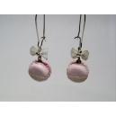 Macarons - Rose givrée & Dentelles, chez laurette, bijoux gourmands, macaron, boucles d'oreille, dentell