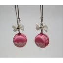 Macarons - Rose glacée & Dentelles, chez laurette, bijoux gourmands, boucles d'oreille, dentelle,