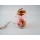Fiole de Donuts à la rose, bijoux gourmand, pate polymere, fimo, donuts, collier, fait main