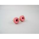 Donuts à la rose sucrée, bijoux gourmand, pate polymere, fimo, donuts, puces d'oreille, boucles d'oreille, fait main