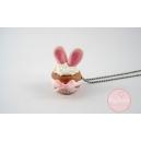 Cupcake Lapin, chez laurette, bijoux gourmand, polymere, fimo, cupcake, paques, lapin, fait main