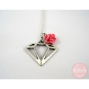 Diamond, bijoux vintage, metal, diamant, collier, collier court, rose