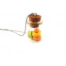 Fiole de Beignes Flash,bijoux gourmand, pate polymere, fimo, donuts, collier, fait main