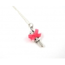 Girly Popsicle, chez laurette, bijoux vintage, metal, glace, collier, collier court, noeud, satin