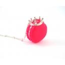 Macaron Princesse Rose Flash,bijoux gourmand, pate polymere, fimo, macaron, collier, fait main