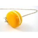 Macaron Princesse Citron, bijoux gourmand, pate polymere, fimo, macaron, collier, fait main