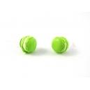 Macaron Pistache - Coco, bijoux gourmands, pate polymere, fimo, macaron, puces d'oreille, boucle d'oreille, fait main