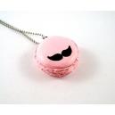 Macaron + Moustaches, bijoux gourmand, pate polymere, fimo, macaron, collier, fait main, moustache, movember