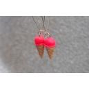 Cornets Rose Flash | Boucles d'oreilles, boucles d'oreille, cornet, chez laurette, artisanat, artisan, fait main, montreal