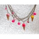 Multi-chaines & cornets | Collier, chez laurette fait main artisanat glace fimo montreal multichaine breloques