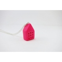 Petite Maison - Rose Flash | Collier, chez laurette polymere fait main montreal maison collier