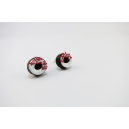 Boucles d'oreille, clou Donuts - marron / blanc / rouge St Valentin