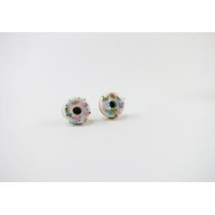 Boucles d'oreille, clou Donuts - Blanc / rose / bleu / doré / argenté