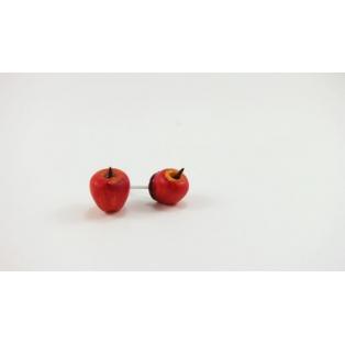 Boucles d'oreille, clou - Pommes rouges | Les Pommes de Laurette