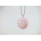 Collier sautoir Macaron Rose et Or, Flocon (maxi)