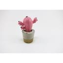 Petit cactus décoratif pour la maison, pot en béton | Rose / noir