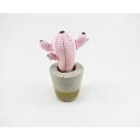 Cactus décoratif pour la maison, pot en béton | Rose pâle / noir