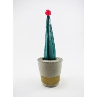 Cactus décoratif pour la maison, pot en béton | Vert / rose flash