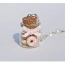 Collier Fiole de Donuts à la crème | Chez Laurette | Donuts | Fait main