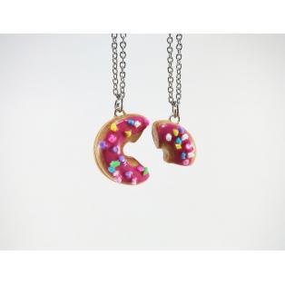 Colliers - BFF - Beigne ROSE foncé et multicolore (mini) | Chez Laurette