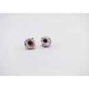 Boucles d'oreille, clou Donuts - Blanc / Multicolore en acier inoxydable  | Chez Laurette