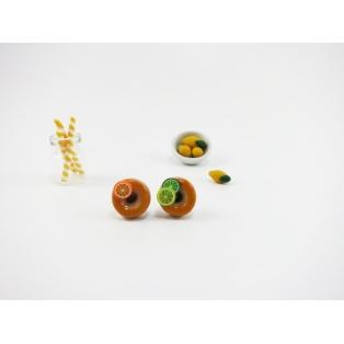 Boucles d'oreille, clou Donuts - Jaune et agrumes en acier inoxydable | Chez Laurette