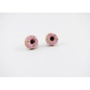 Boucles d'oreille, clou Beigne - rose ultra pâle et faux sucre doré | Chez Laurette