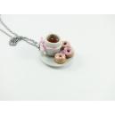 Collier - Petite assiette et tasse de thé & beignes rose ultra pâle, feuille d'or et quartz rose