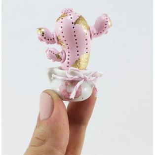 Pièce unique - Mini mini mini Cactus décoratif rose très pale / feuilles d'or
