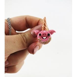 Collier - Beigne-Cochon-Licorne rose/gold (mini) | Chez Laurette