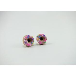 Boucles d'oreille, clou Donuts - Rose ultra pâle / Funfettis Multicolore en acier inoxydable   Chez Laurette