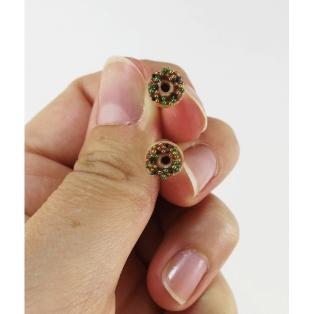 Format miniature | Boucles d'oreille, clou Donuts d'Halloween - Chocolat en acier inoxydable | Chez Laurette