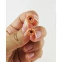 Format miniature | Boucles d'oreille, clou Donuts d'Halloween - blanc/orange en acier inoxydable | Chez Laurette
