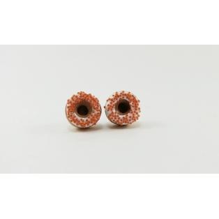 Boucles d'oreille, clou Donuts d'Halloween - Blanc/Orange en acier inoxydable   Chez Laurette