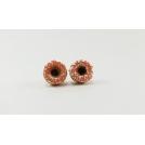 Boucles d'oreille, clou Donuts d'Halloween - Blanc/Orange en acier inoxydable | Chez Laurette