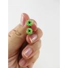 Format miniature | Boucles d'oreille, clou Donuts d'Halloween - verts à yeux | Acier inoxydable | Chez Laurette