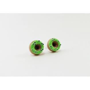 Boucles d'oreille, clou Donuts d'Halloween - Verts à yeux   Acier inoxydable   Chez Laurette