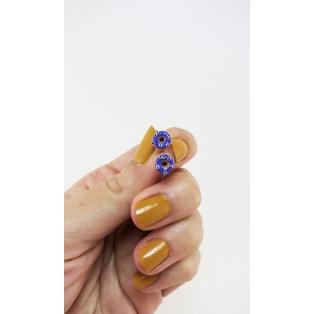 Format miniature   Boucles d'oreille, clou Donuts d'Halloween - mauve à yeux   Acier inoxydable   Chez Laurette