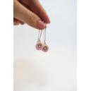 Beigne rose, feuille d'or et quartz rose (pendantes)