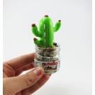 Cactus décoratif pour la maison vert / rouge / blanc dans un pot de tartinade au chocolat recyclé !