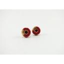Boucles d'oreille, clou Beigne - rouge & feuilles d'or