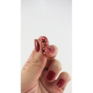 Format miniature   Boucles d'oreille, clou beignes de Noël - Rouge / Blanc / Or en acier inoxydable