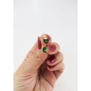 Format miniature | Boucles d'oreille, clou beignes de Noël - Vert forêt / Feuille d'or acier inoxydable