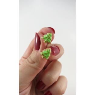 Boucles d'oreille, clou mini biscuits sapins de Noël - Vert / doré | acier inoxydable