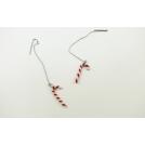 Boucles d'oreille pendantes - Canes de bonbons de Noël (blanc/rouge)