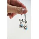 Boucles d'oreille pendantes - Beignes & Flocon (bleu) | Chez Laurette
