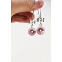 Boucles d'oreille pendantes - Beignes & Flocon (rose) | Chez Laurette